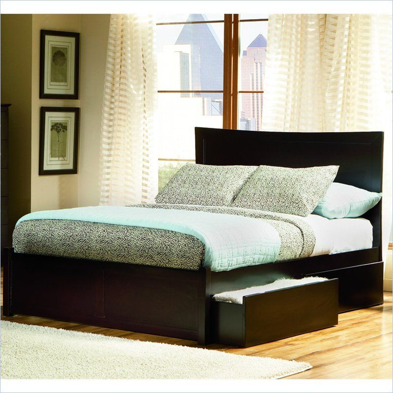 Atlantic Furniture Miami Wood Platform Bed with Flat Panel Footboard ...