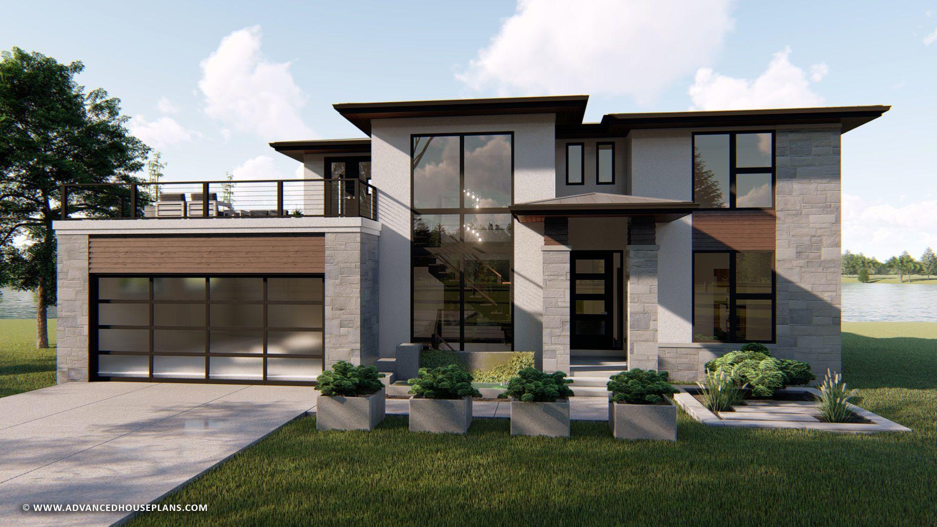 1 5 Story Modern Prairie House Plan Summit New Design