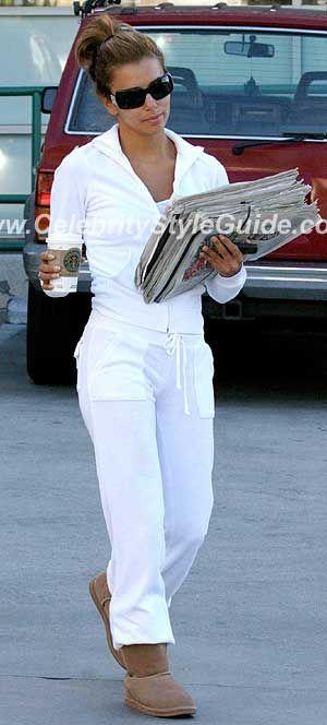 8f70edea2b71 eva-longoria Juicy Couture Velour Snap Pocket Pant set in White ...