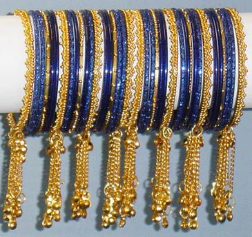 Indian Blue Gold Indian Bangles with Tassels Choorian Churi