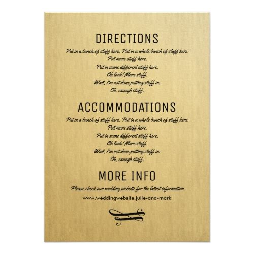 Transport Gifts Directions 10 Wedding Information Cards Accommodation