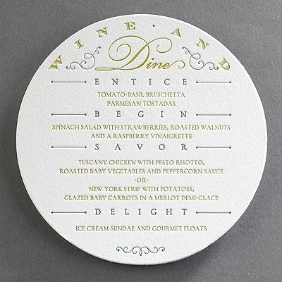 Wine and dine your wedding guests in style Your menu is printed - wedding menu