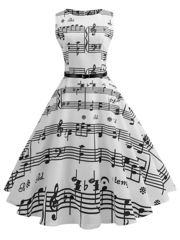 White 1950s Music Note Swing Dress #vintagefashion1950s