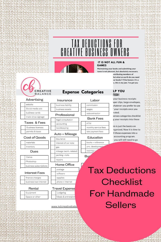 Tax Deduction Checklist For Creatives Tax Deductions Creative Business Creative Business Owner