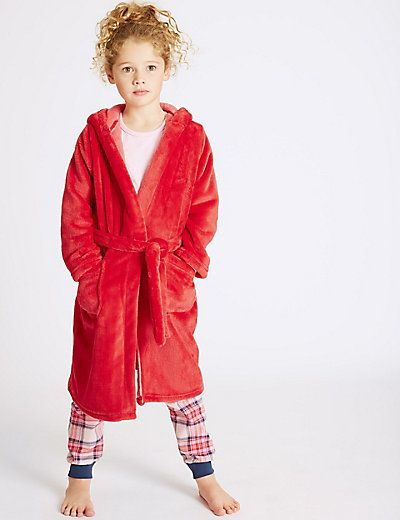 Hooded Dressing Gown with Belt (3-14 Years) | M&S | AW18 GIRLS ...
