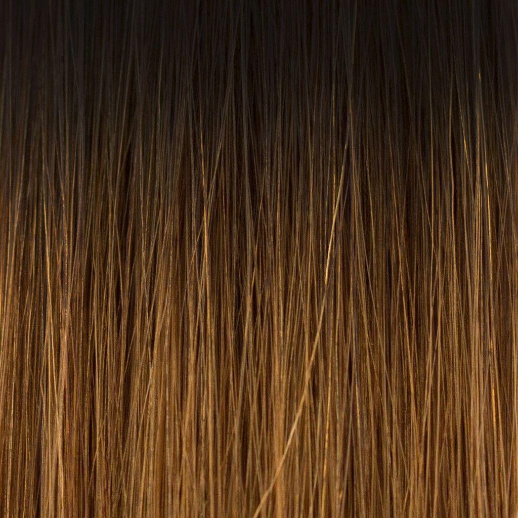 Clipin hair extensions b ombré darkest brown to caramel