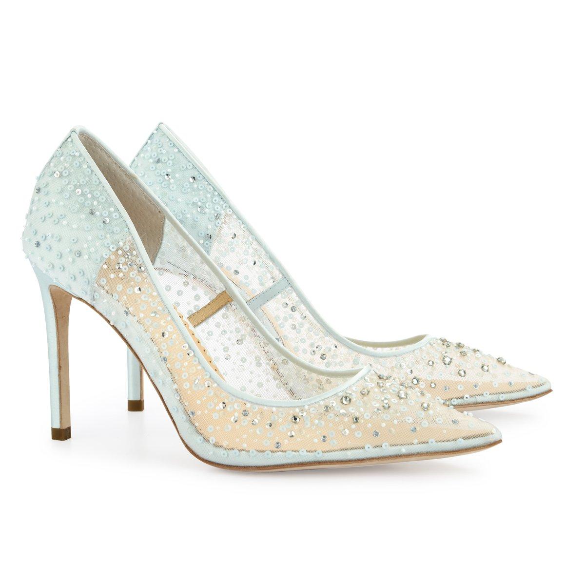 Elsa Sparkly Sequin Blue Wedding Shoe Blue Wedding Shoes