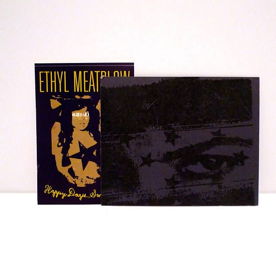 Ethyl meatplow band sticker and postcard set vintage 1993 happy days sweatheart card industrial rock electronic mohawk music records