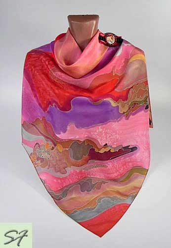 065d2b18b12c Spring Purple Pink Silk scarf square Hand Painted