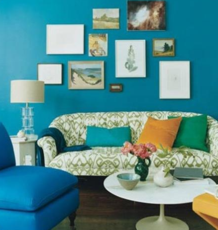 Living Rooms · Gina Kates: Domino Magazine   Peacock Blue Walls Teal Walls  Paint Color   White U0026