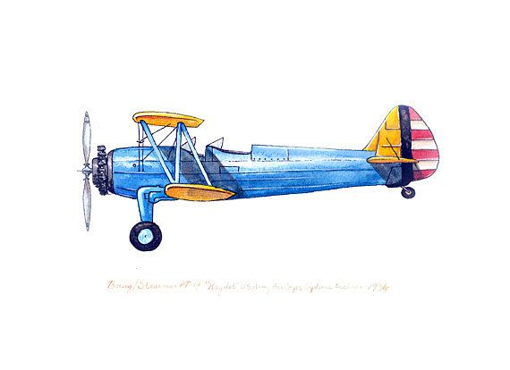 Boeing/Stearman PT-17 vintage airplane watercolor print, 8x10