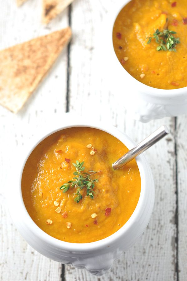 Carrot, Ginger & Sweet Potato Soup #potatosoup