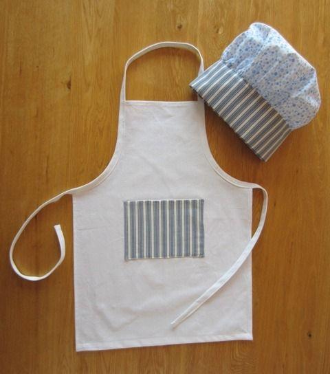 Set cuisine tablier et toque de cuisinier enfant coton en bleu et ...