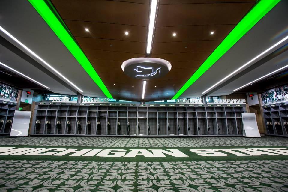 New Locker Room At Spartan Stadium Michigan State Football Michigan State Michigan State Spartans