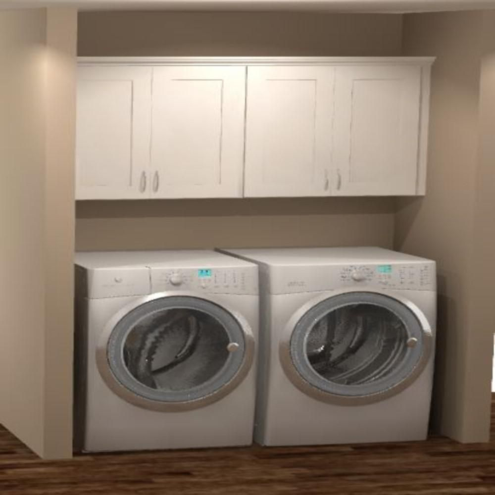 Hampton Bay Shaker Ready To Install 64x30x12 In Laundry Room Kit With Assembled Wall Kitchen Cabinets In Satin White Kkitldy64 Ssw The Home Depot Kitchen Cabinet Remodel Laundry Room Remodel Laundry Room