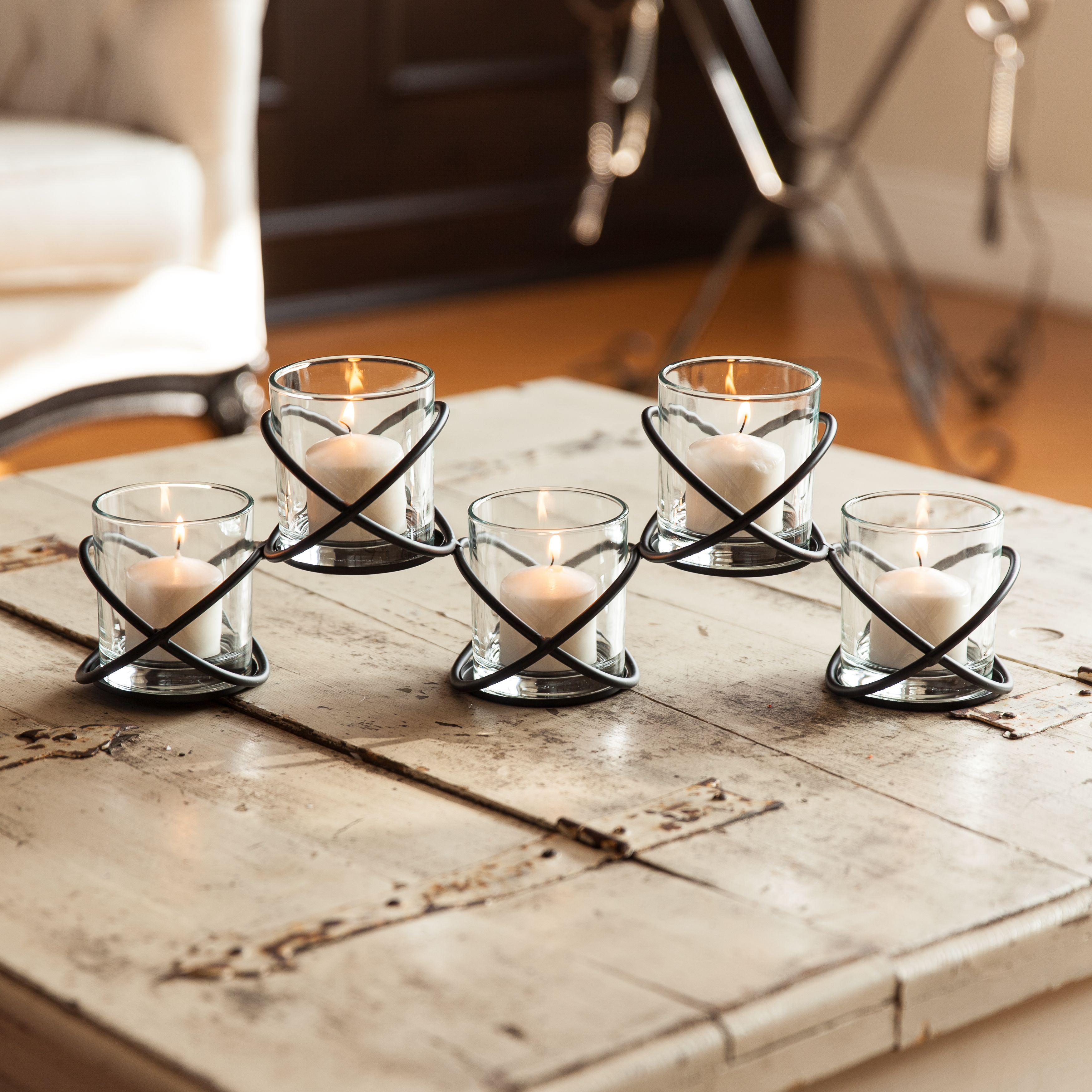 Five Glass Multiple Candleholder On Orbits Metal Stand Danya B In 2021 Candle Holders Danya B Multiple Candle Holder