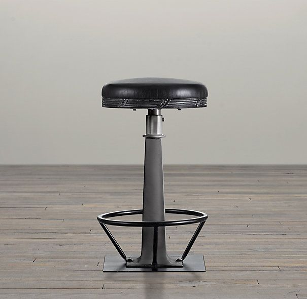 19th C Soda Fountain Counter Stool Restoration Hardware Industrial Living Room Design Counter Stools