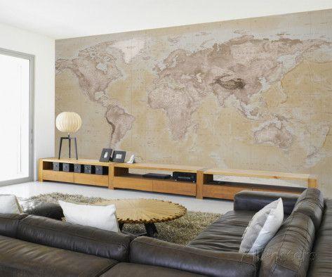 2015 Neutral Map Wallpaper Mural Mural de papel pintado