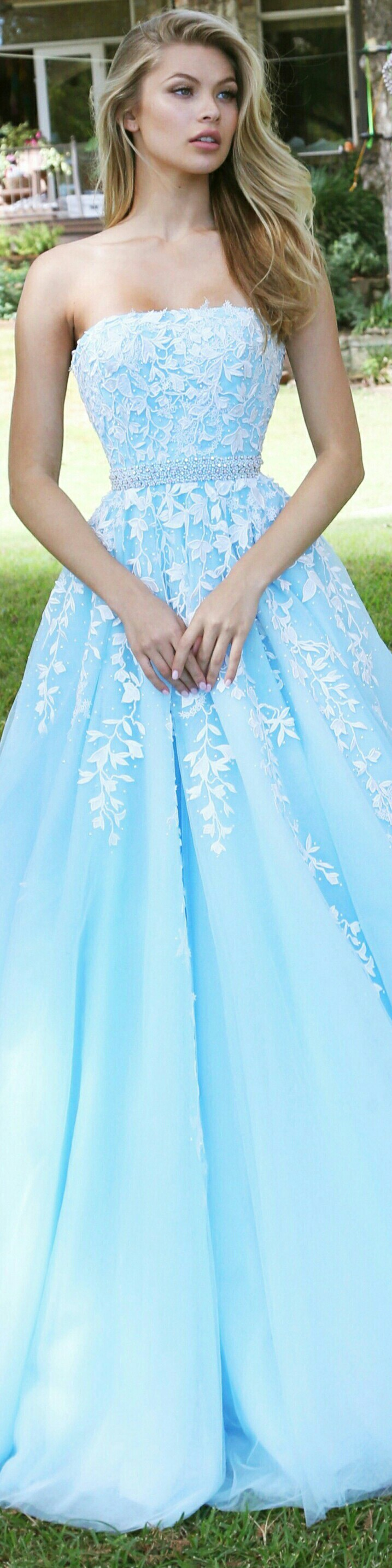 SHERRI HILL In Baby Blue w Beaded Waist Belt and White Petals on