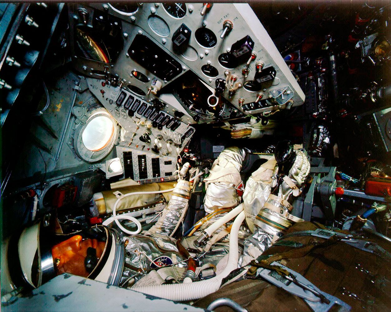 The interior of Shepard's Freedom 7 capsule.   Space ...