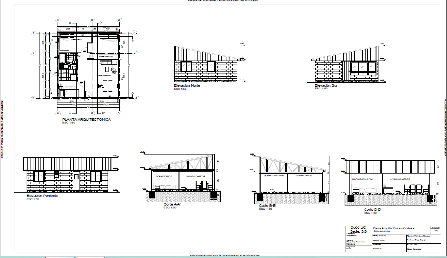 Plano vivienda contiene plano de arquitectura cortes for Planos de arquitectura pdf