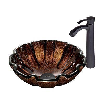 Pazo Walnut Shell Glass Vessel Sink And Faucet Set Glass