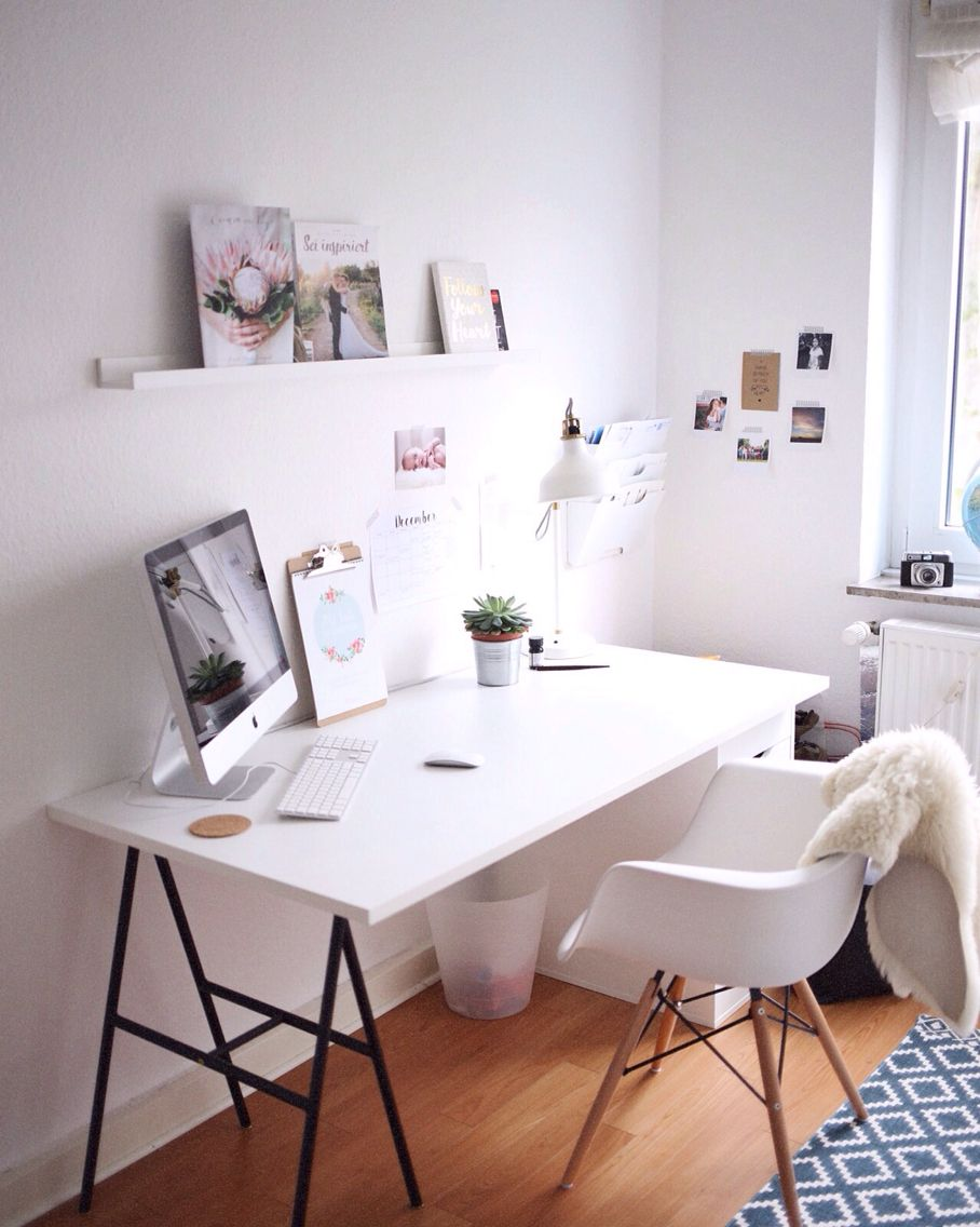 arbeitsplatz b ro wei minimal vitra chair ikea white working space h m carpet by. Black Bedroom Furniture Sets. Home Design Ideas