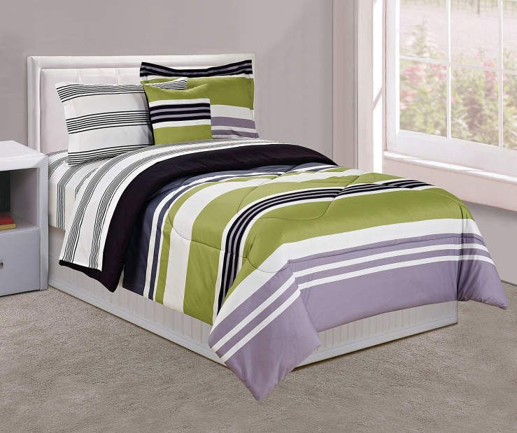Just Home Green Black Stripe Twin 6 Piece Comforter Set Big