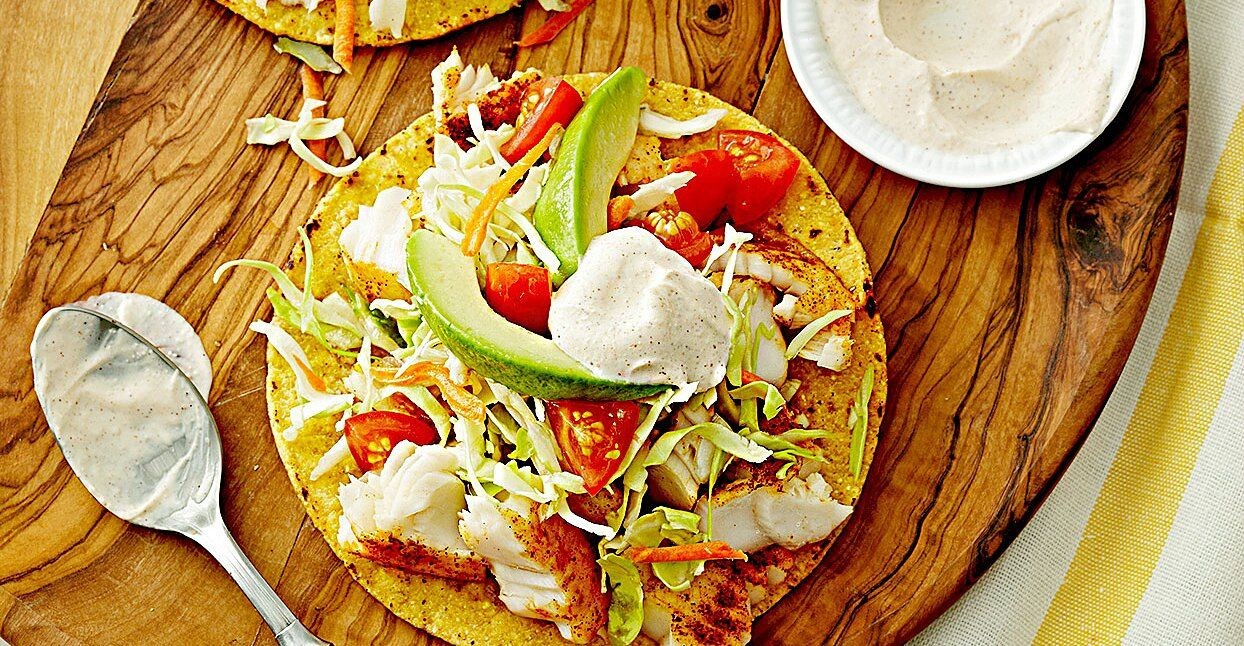 Fish Tostadas With Chili Lime Cream Recipe In 2020 Chili Lime