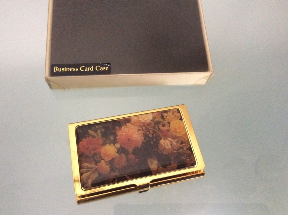 Vintage Business Card Case Gold Tone Flowers Made In France ...