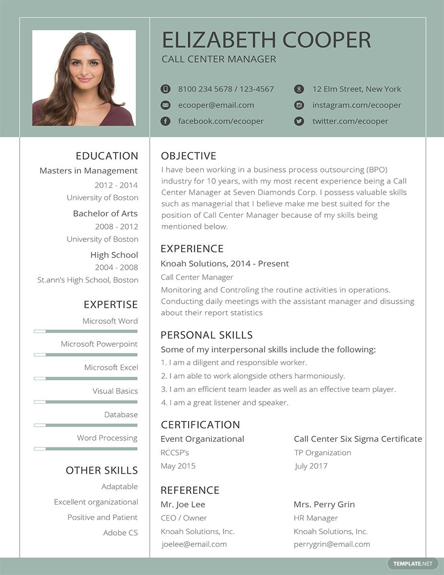 Free bpo resume template in 2020 cv template free clean