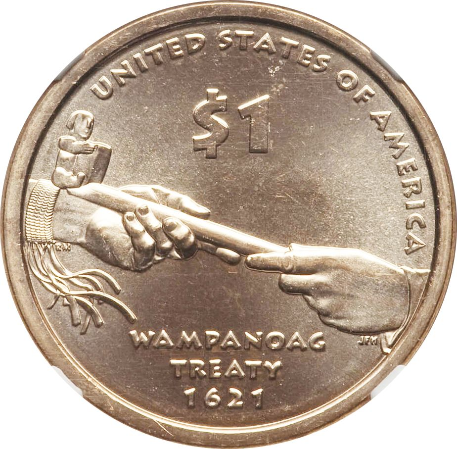 NGC MS67 2011-D Sacagawea Wampanoag Treaty Dollar Native American $1