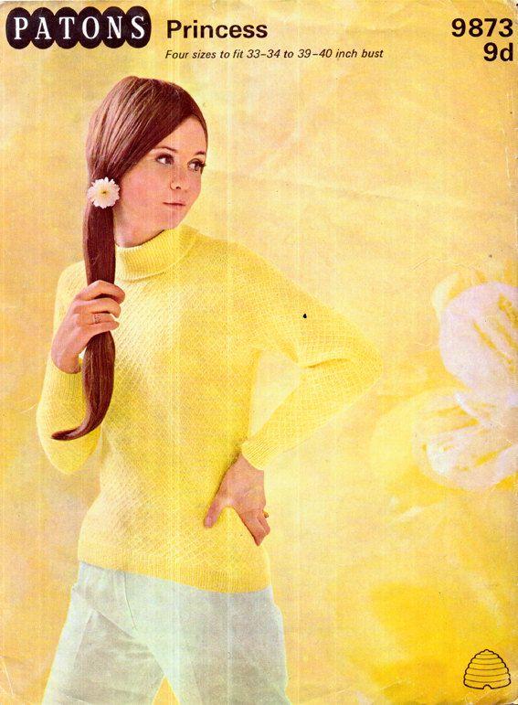 Genuine Vintage 1960s PATONS 9873 Pretty Ingenue Fitted Ladies ...