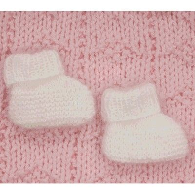 Plymouth Yarn F310 Angora Baby Booties (Free). Preemie Small to Full-term new born sizes.