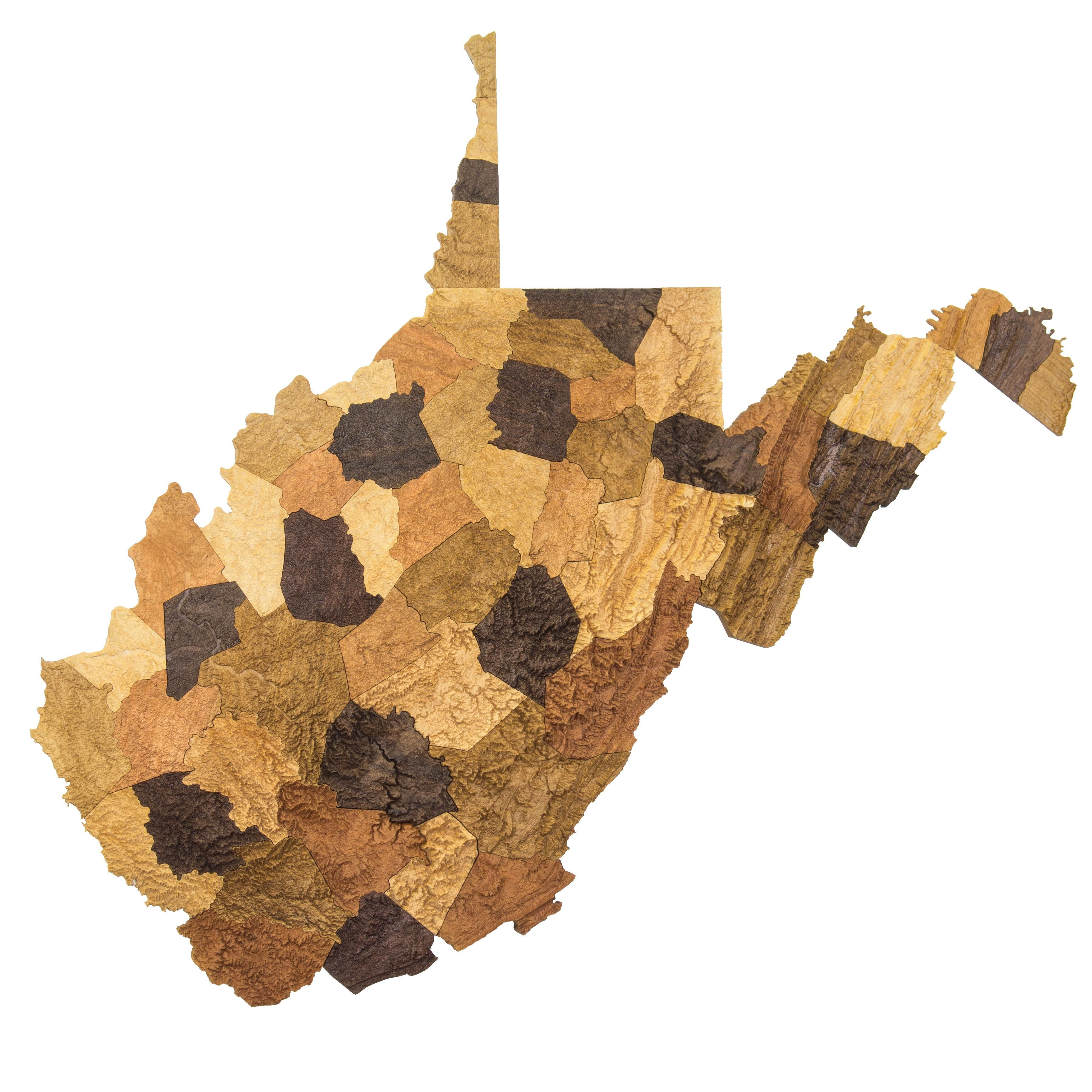 wooden topographic relief map of the counties of west virginia