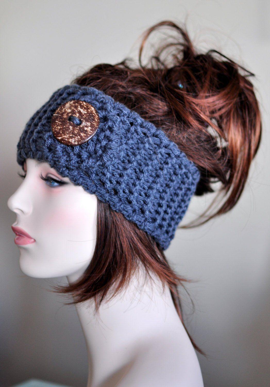 Crochet Headband Head wrap Ear warmer CHOOSE COLOR Dark