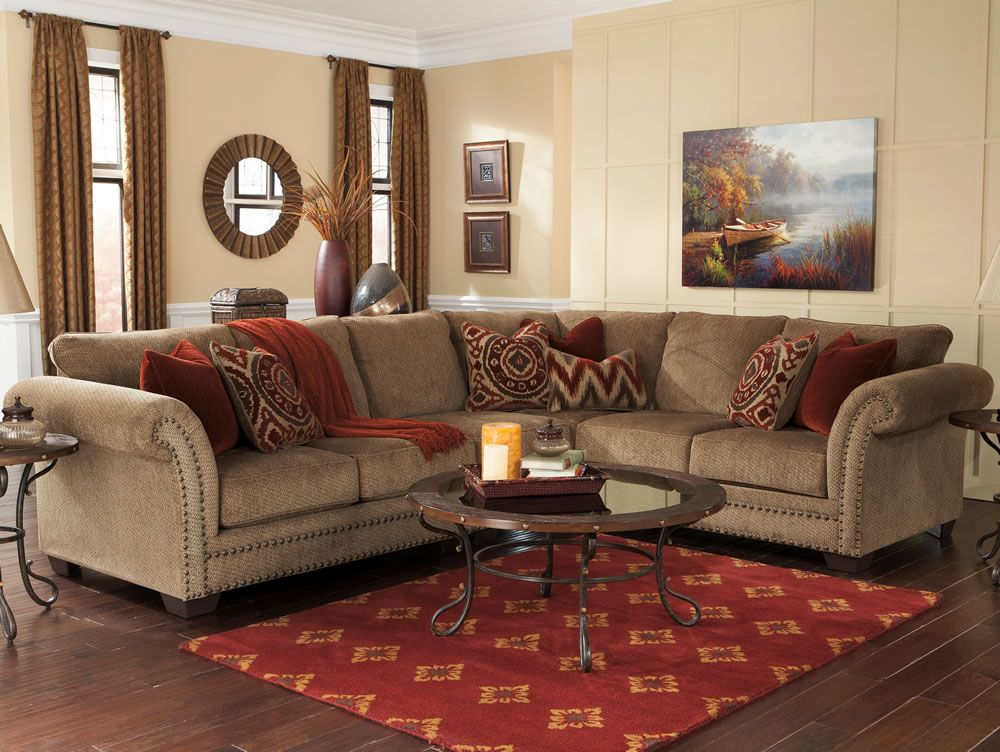 Cozy Living Room Furniture With Traditional Leather Sectional Sofa .