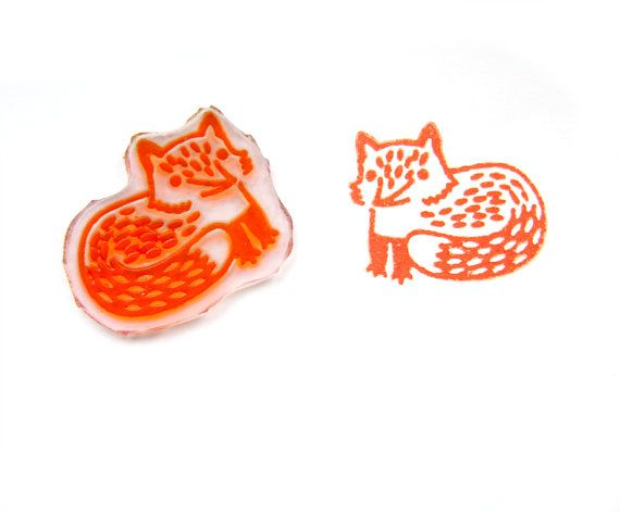 Cute Fox Rubber Stamp  Handmade Stamp Forest Animal by DoodleStamp, £6.50