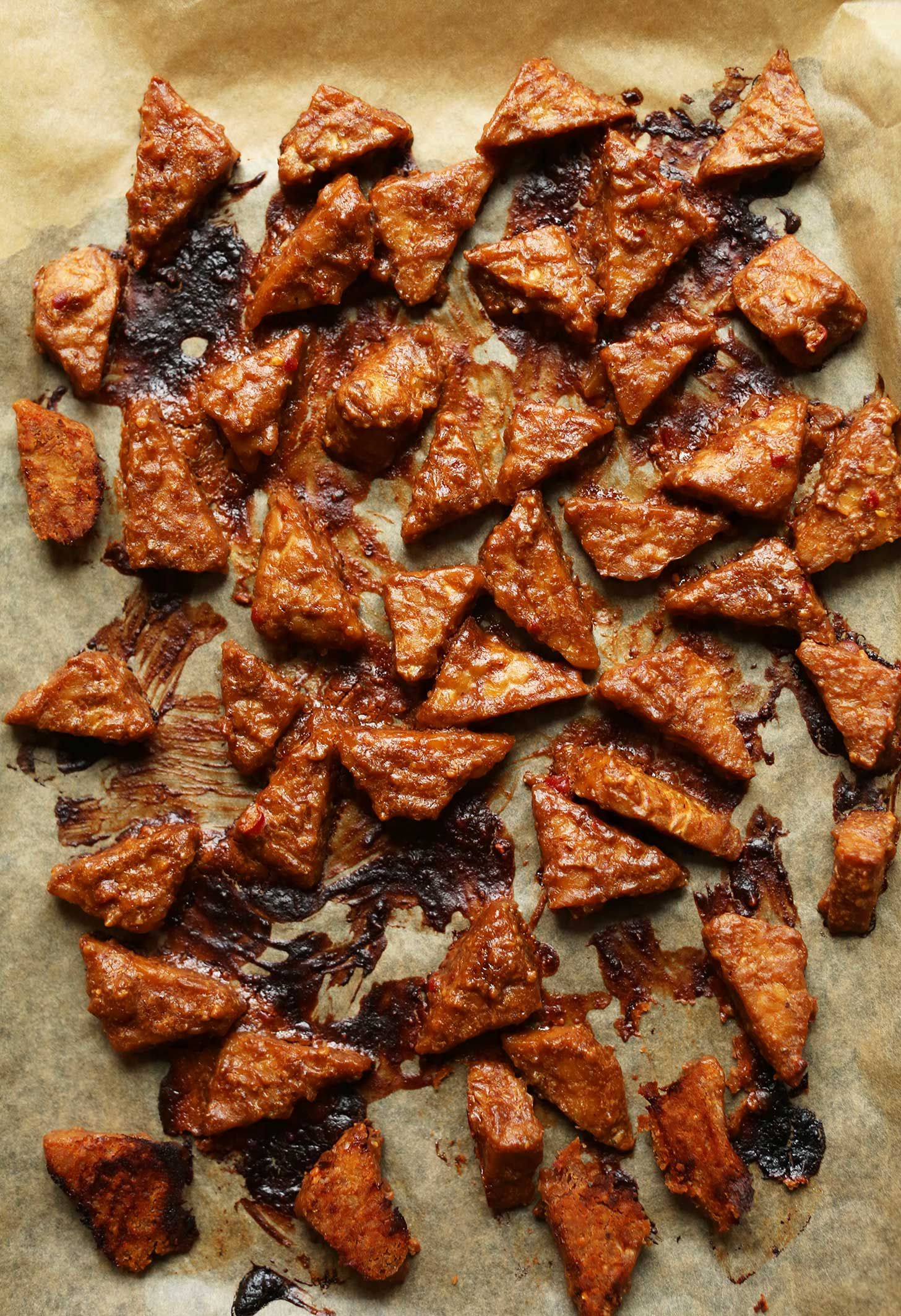 EASY Marinated Peanut Tofu! 7 ingredients, marinated then baked! Saucy, spicy, sweet, and SO delicious! #vegan #glutenfree #tempeh #recipe
