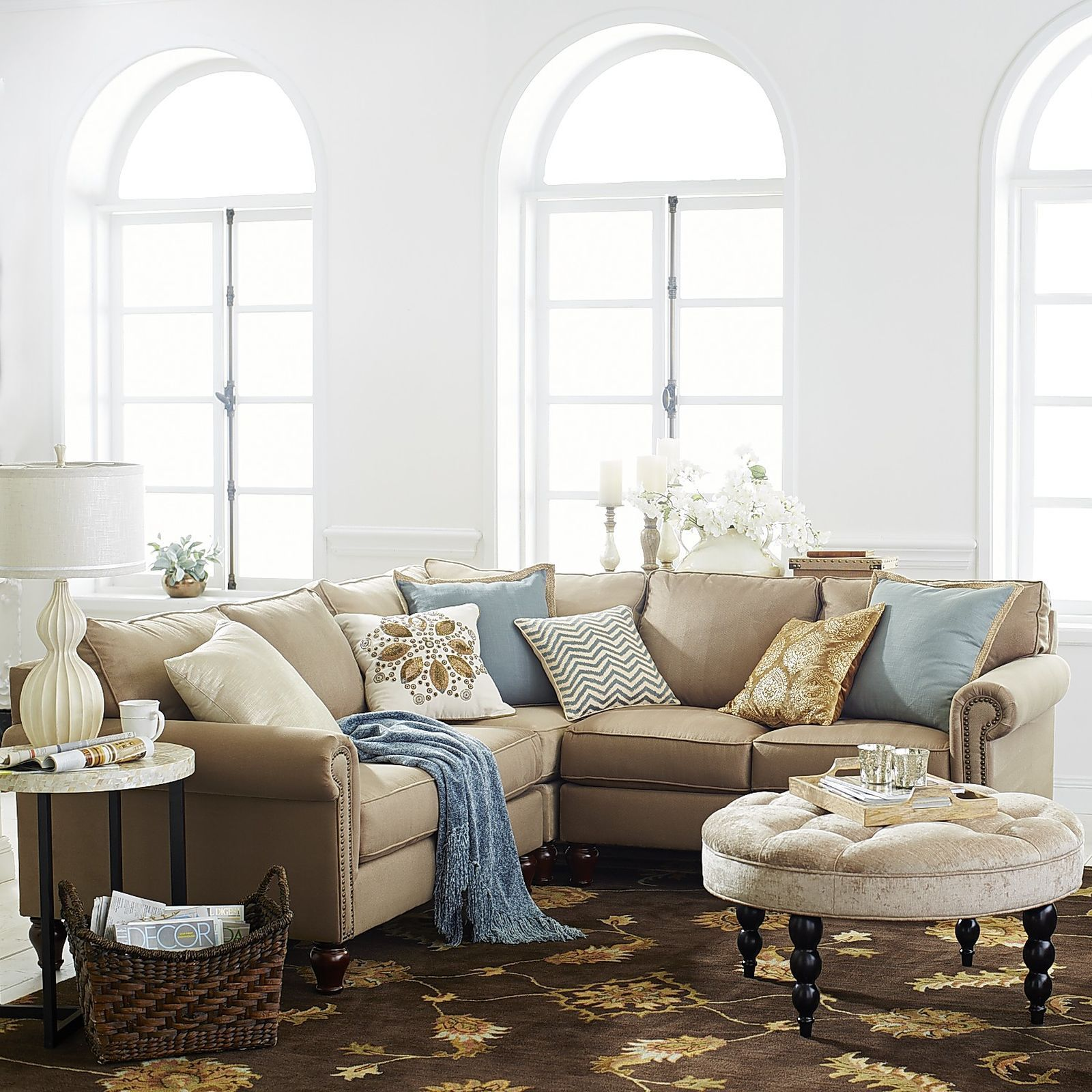 Build Your Own Alton Tan Rolled Arm Sectional Collection | Sectional ...