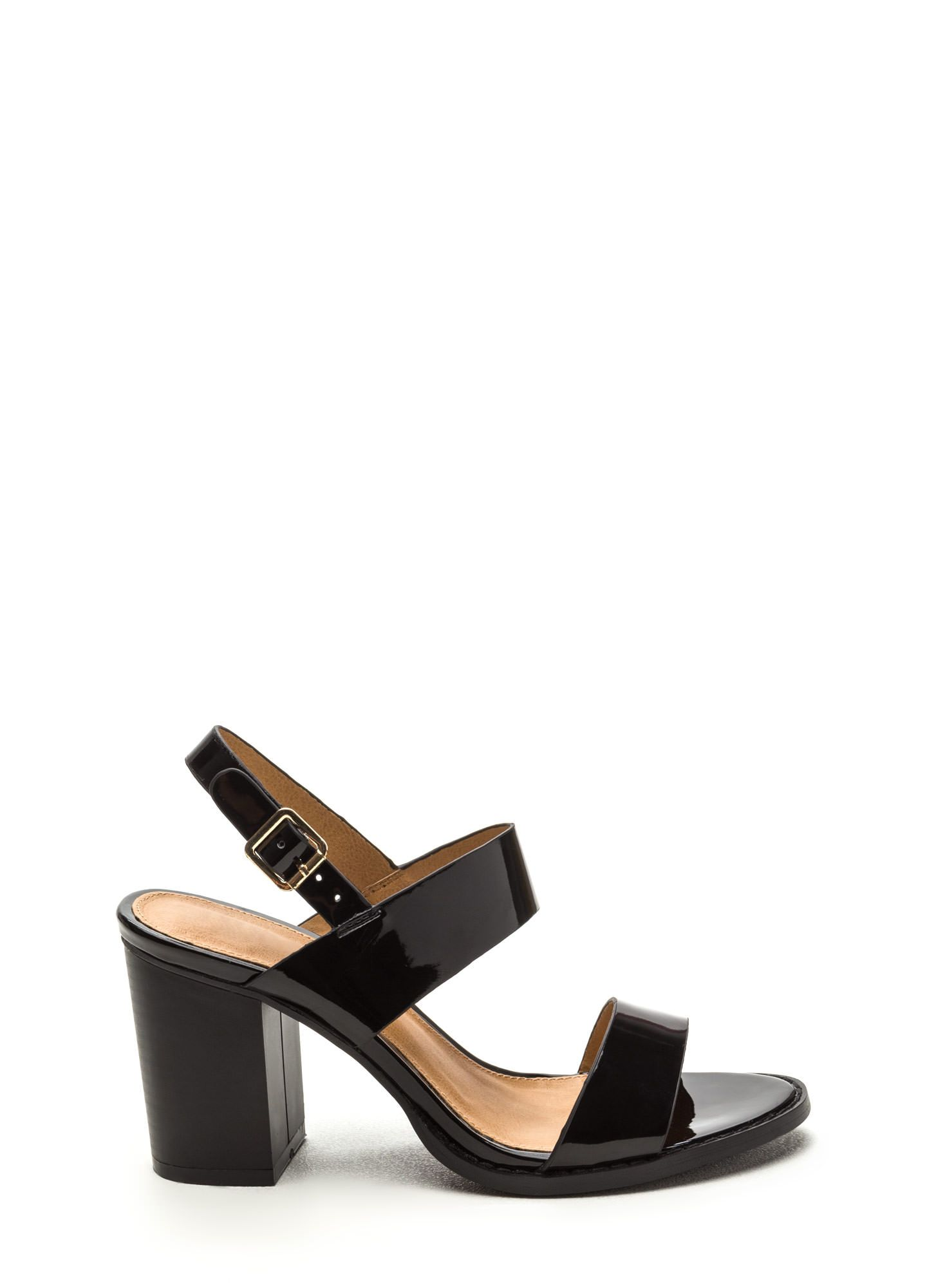 Double The Fun Faux Patent Heels BLACK
