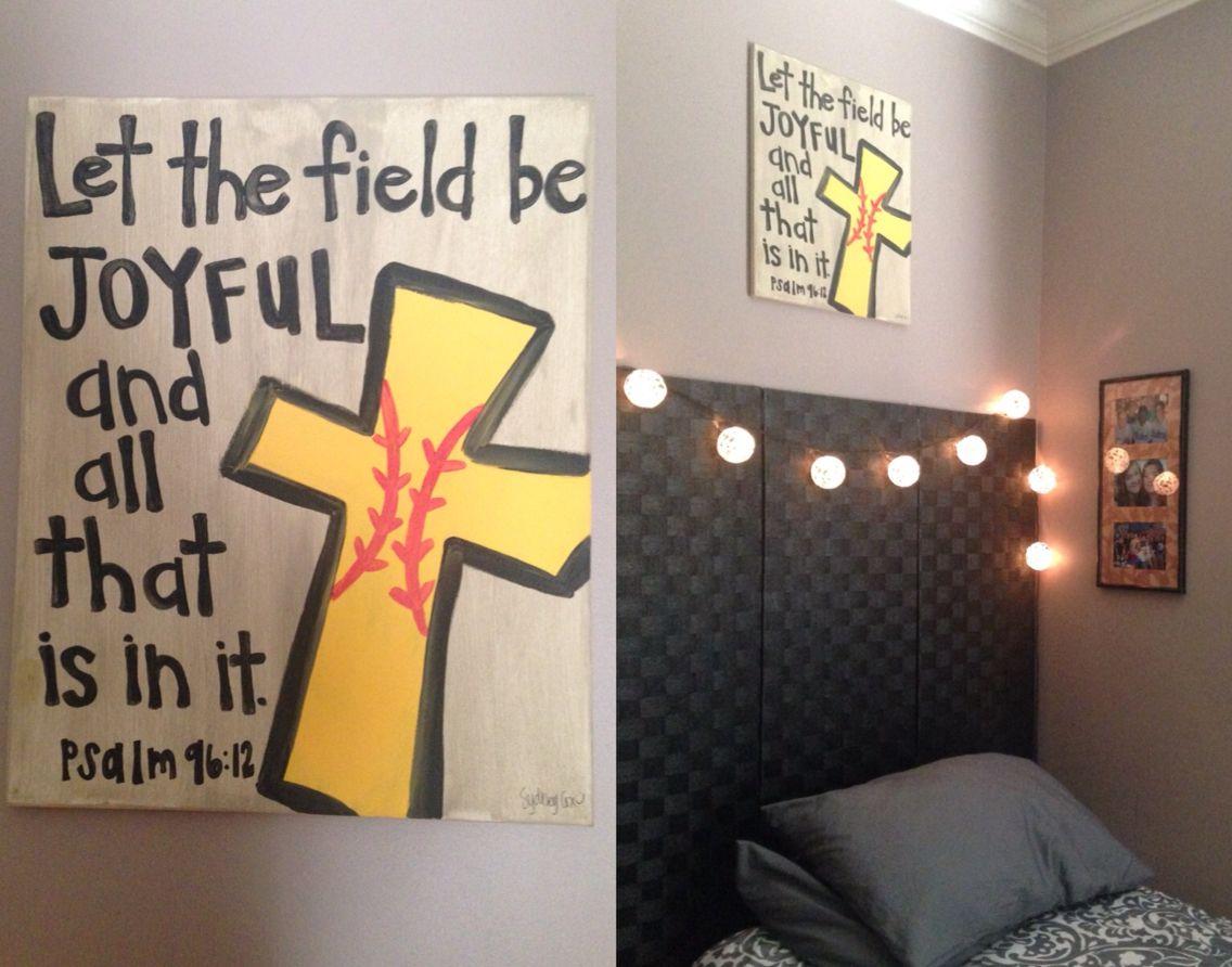 Softball Cross On Canvas Softball Bedroom Softball Crafts Softball Decorations Softball decorations for bedroom