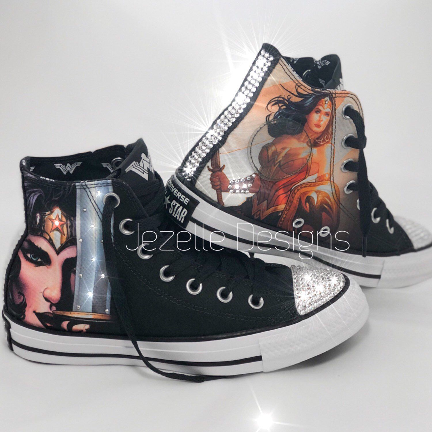 Wonder Woman Limited Edition Converse customized with Swarovski Crystals!!  💥 Exclusives by Jezelle Designs!! ⏰ Hurry.. Limited Supply!⏰ 2f5d4699d6