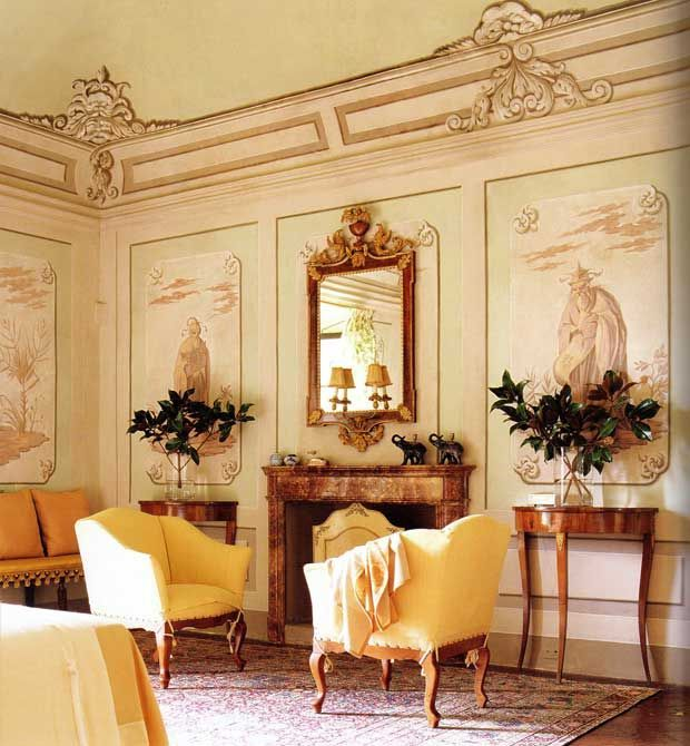 Chinoiserie bedroom at villa la rose the ferragamo 39 s for Italian villa interior design ideas