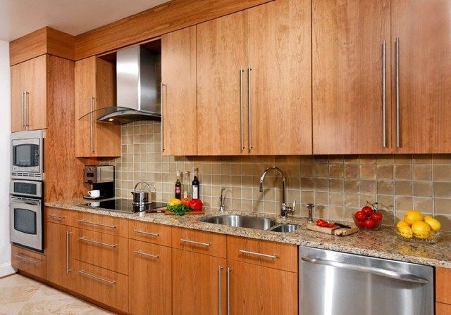 contemporary cherry flat panel kitchen asian kitchen kitchen ...