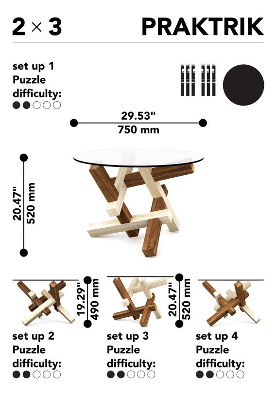 2x3 round wooden coffee table - puzzle - round glass table