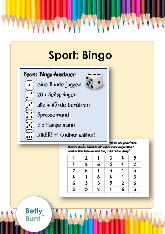 Sport Bingo Wurfeln In 2020 Sportspiele Grundschule Sportunterricht Spiele Unterrichtsmaterial Grundschule