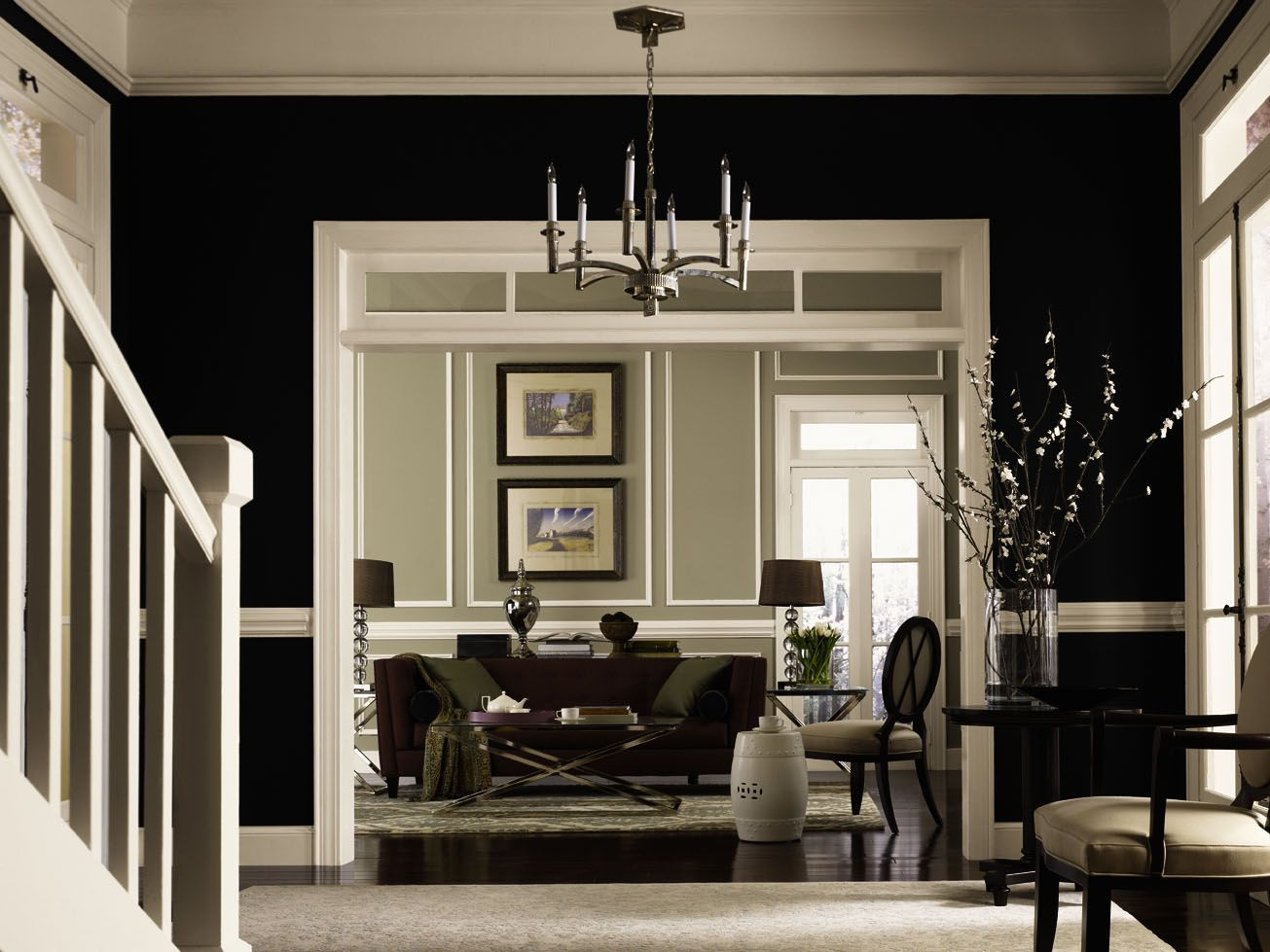 Hgtv home by sherwin williams liveable luxe tricorn for Black dining room walls
