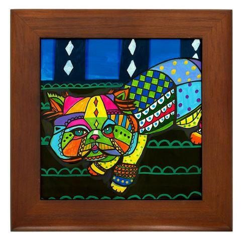 Modern Colorful Cat Paintings | Cat Folk Art Tile Framed - Cats Green Hot Pink Colorful Modern ...