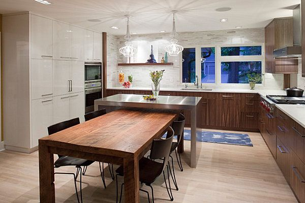 Cool Kitchen Island Table With Wood Design Modern Contrasting White Gloss And Kitchen Island Dining Table Kitchen Island And Table Combo Kitchen Island Table